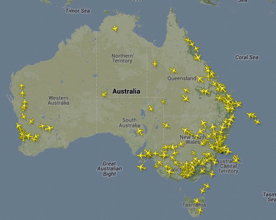 Air traffic comparison australia vs usa